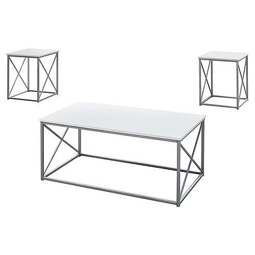 Ens De Tables - 3Pcs Blanc Et Metal Argent