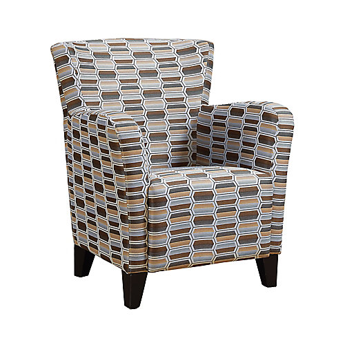 Accent Chair - Earth Tone Geometric Fabric