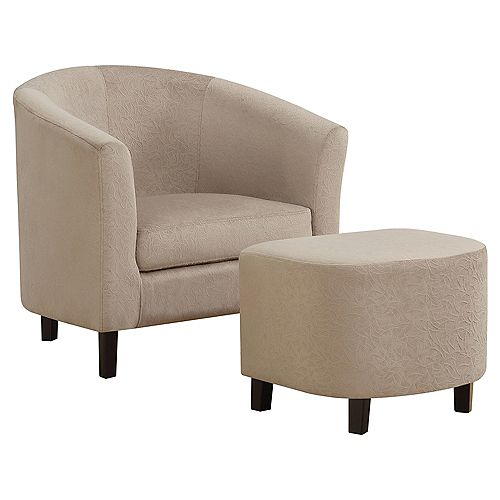Accent Chair - Taupe Floral Velvet (Set of 2)