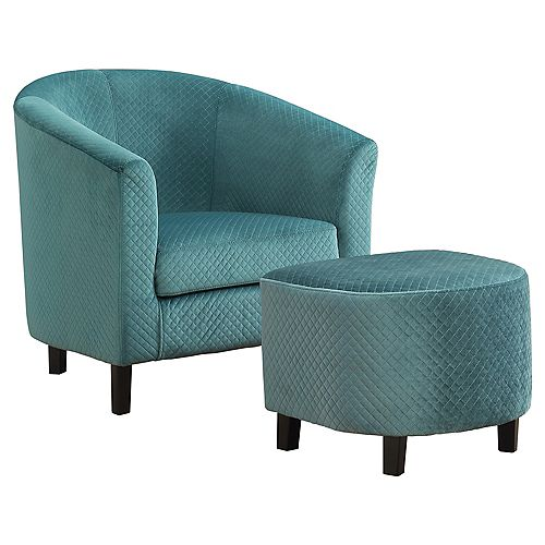 Accent Chair - Turquoise Quilted Fabric (Set of 2)
