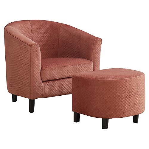 Accent Chair - Dusty Rose Quilted Fabric (Set of 2)