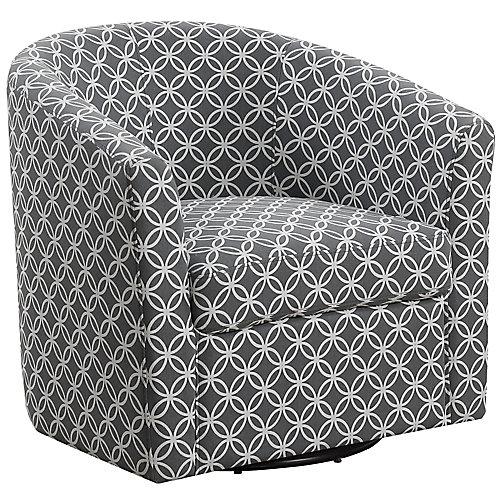 Accent Chair - Swivel Grey Circular Fabric