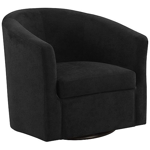 Accent Chair - Swivel Black Abstract Velvet