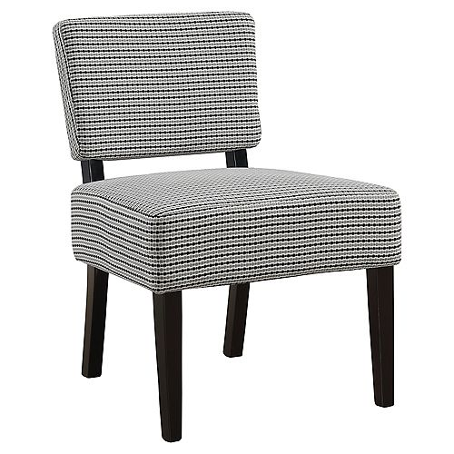 Accent Chair - Light Grey Black Abstract Dot Fabric
