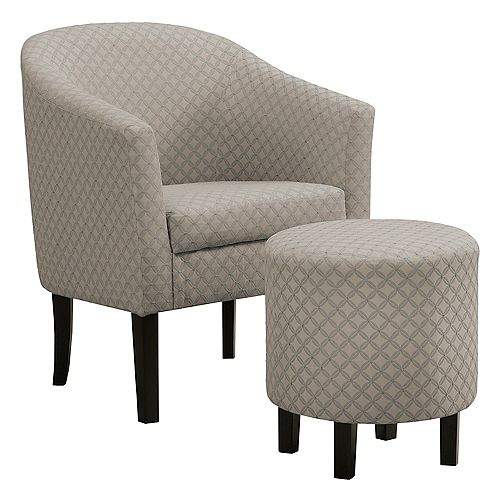 Accent Chair - Light Grey Geometric Fabric (Set of 2)