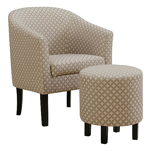 Accent Chair - Dark Taupe Geometric Fabric (Set of 2)