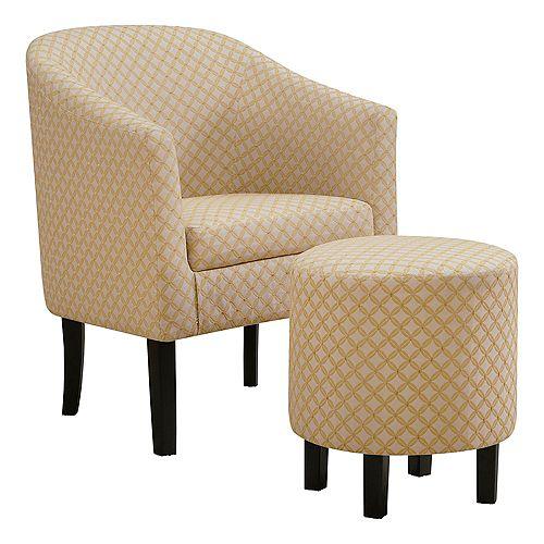 Accent Chair - Light Yellow Geometric Fabric (Set of 2)