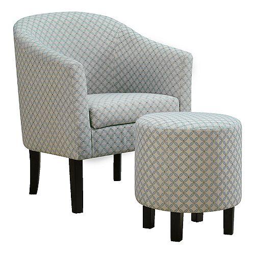 Accent Chair - Light Blue Geometric Fabric (Set of 2)