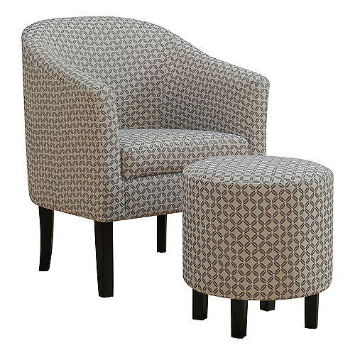 Accent Chair - Dark Grey Geometric Fabric (Set of 2)