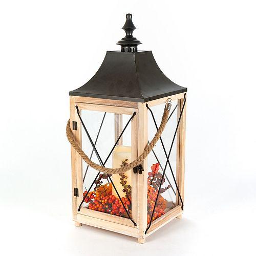 24 inch LED Wooden Harvest Lantern