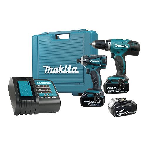 18V 3.0 ah 2pc Drill Driver / Impact Driver Kit, 3 Batteries.