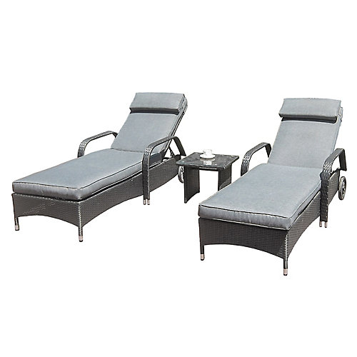 3-Piece Lounger Set With Cushions