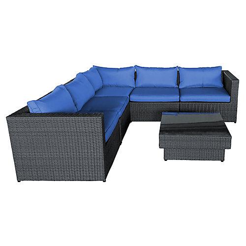 Ensemble de sofa 3 mx avec coussins bleu