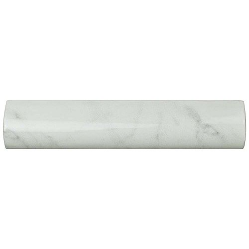 Classico Carrara Glossy Pencil Bullnose 1-1/4-inch x 6-inch Ceramic Wall Trim Tile (5.21 Ln. ft. / case)