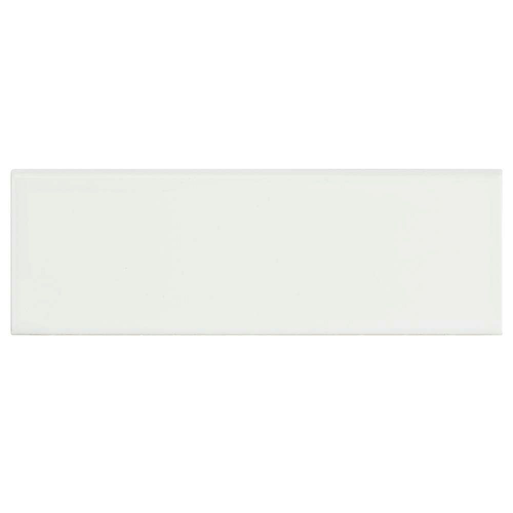 Merola Tile Park Retro White Ice 2-inch x 6-inch Ceramic Bullnose Wall Trim Tile (7.81 Ln. ft. / case)