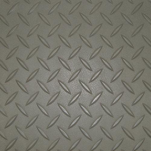 Revêtement de plancher de garage en PVC gris à motif diamant 3 pi x 5 pi, (couvre 15 pi. ca.)