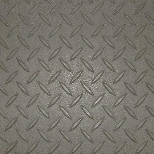 5 ft. x 12 ft. Pewter Textured Diamond Pattern PVC Garage Flooring (Covers 60 sq.ft.)