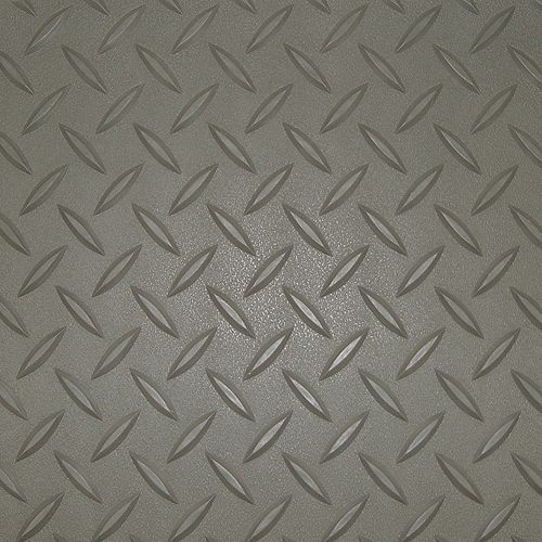 7.5 ft. x 14 ft. Pewter Textured Diamond Pattern PVC Garage Flooring (Covers 105 sq.ft.)