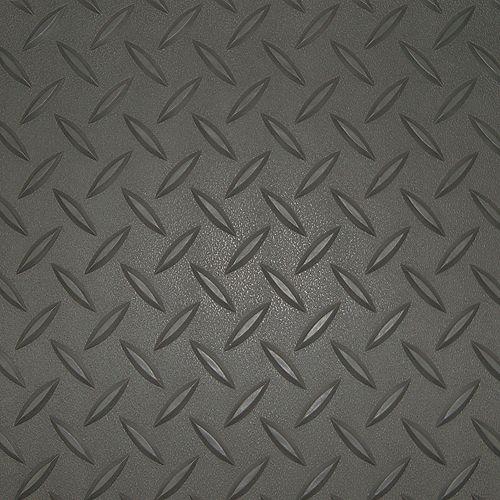 5 ft. x 7.5 ft. Charcoal Textured Diamond Pattern PVC Garage Flooring (Covers 37.5 sq.ft.)
