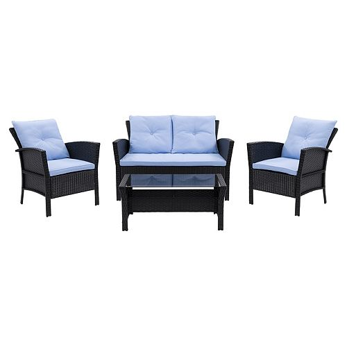CorLiving Cascade Wicker Rattan Patio Set with Light Blue Cushions 4pc