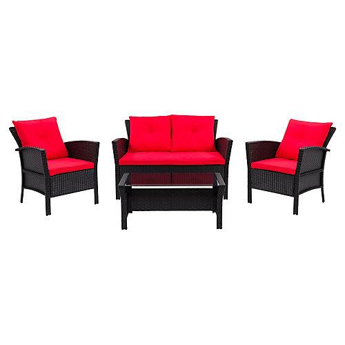 Salon de jardin avec coussins rouge Cascade, rotin de résine, noir, 4 pièces