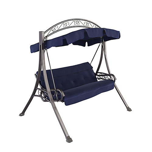 Nantucket Patio Swing with Arched Canopy in Navy Blue