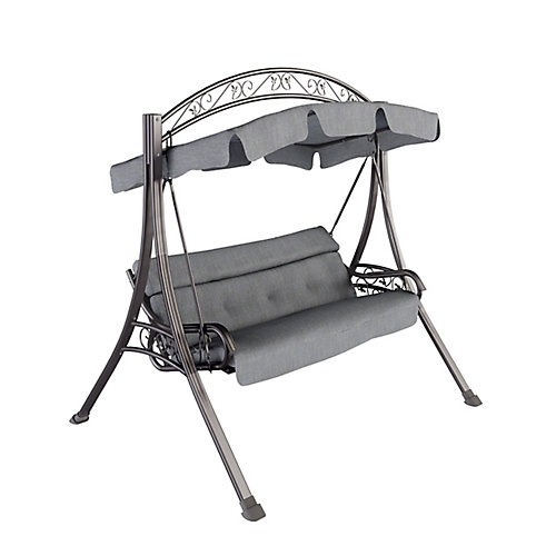 Nantucket Patio Swing with Arched Canopy in Textured Grey