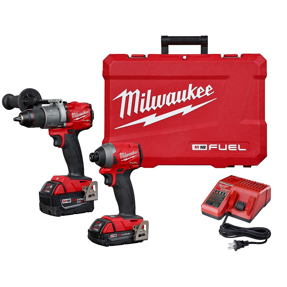 Milwaukee Tool M18 FUEL 18V Li-Ion Brushless Cordless Hammer Drill and Impact Driver Combo Kit (2-Tool)