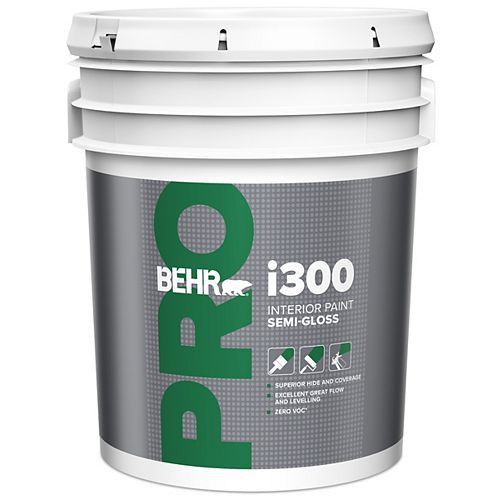 Behr Pro i300 Series, Interior Paint Semi-Gloss PR370 - White Base, 18.3 L