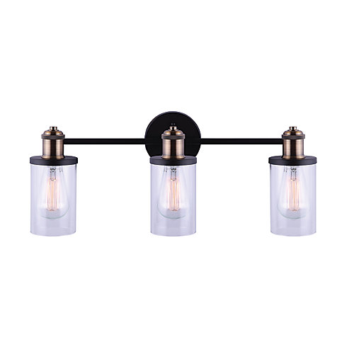 TOBIAS 3-Light 60W Matte Black with Gold Accents Vanity Light with Glass Shades