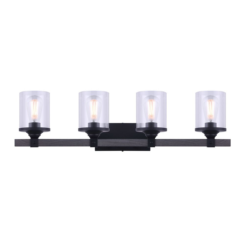 Home Decorators Collection TYSON 4-Light Vanity Light Fixture in Matte Black and Faux Wood with Clear Glass Shades