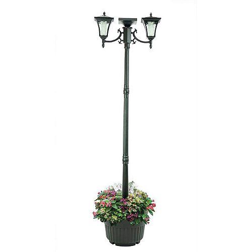 Lampadaire solaire Vittoria à deux têtes avec jardinière, noir