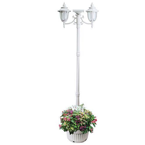 Lampadaire solaire Hannah à deux têtes avec jardinière, blanc
