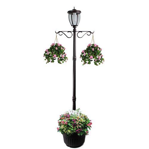 Lampadaire solaire Kenwick avec jardinière, bronze