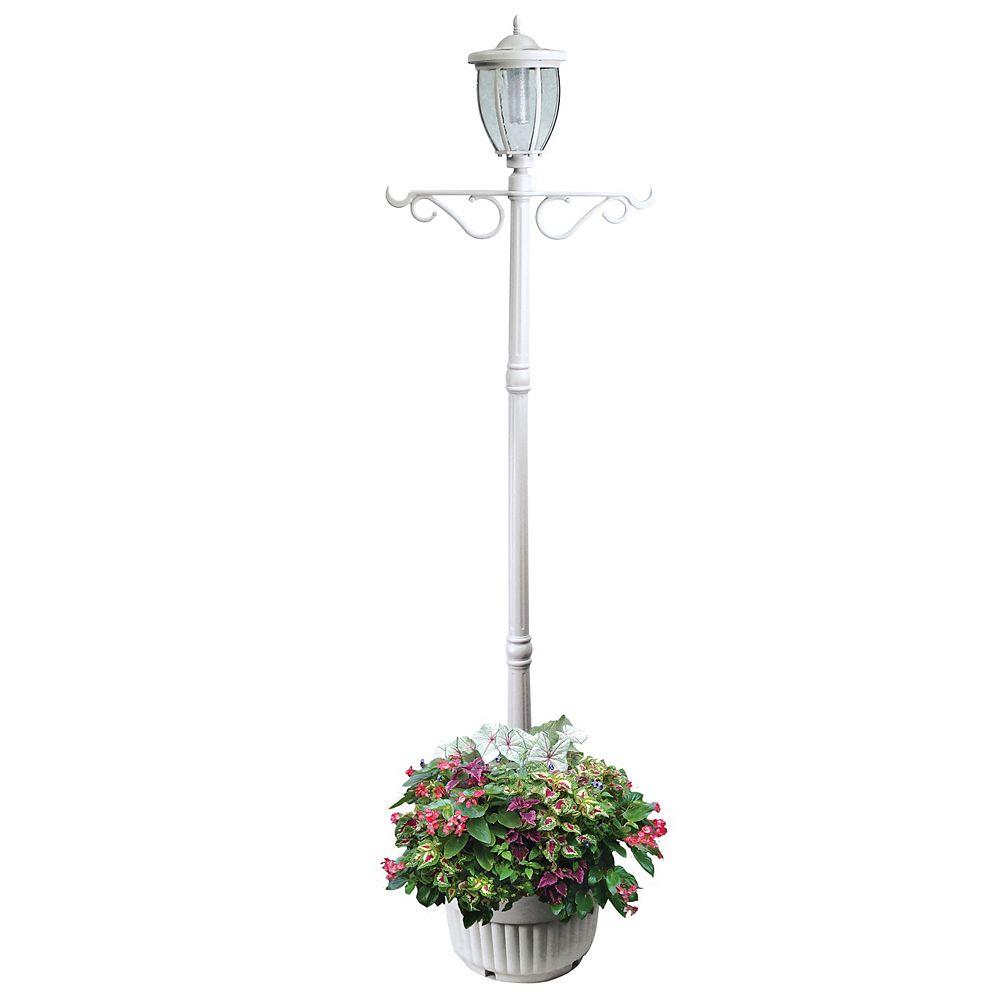 Sun-Ray Lampadaire solaire Kenwick avec jardinière et crochet, blanc, une tête