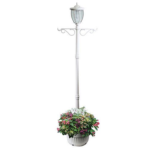 Lampadaire solaire Kenwick avec jardinière et crochet, blanc, une tête