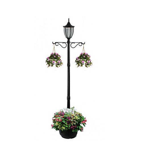 Lampadaire solaire Crestmont avec jardinière et crochet, noir, une tête