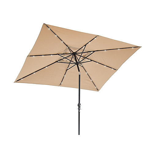 9 ft.x7 ft. Rectangular Solar Lighted Umbrella - Taupe