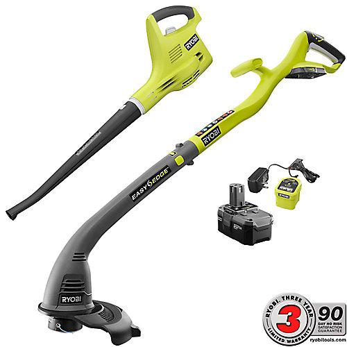 ONE+ 18V Cordless String Trimmer/Edger and Blower/Sweeper Kit w/ (1) 2.6 Ah Battery and Charger