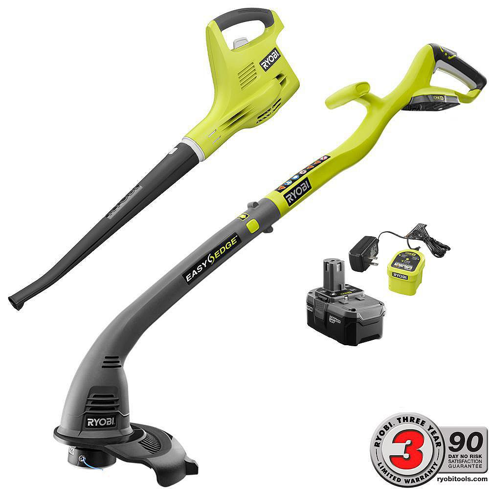 RYOBI ONE+ 18V Cordless String Trimmer/Edger and Blower/Sweeper Kit w/ (1) 2.6 Ah Battery and Charger