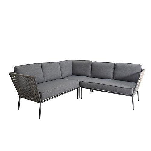 Tolston 3-Piece Wicker Outdoor Patio Sectional Set with Charcoal Cushions