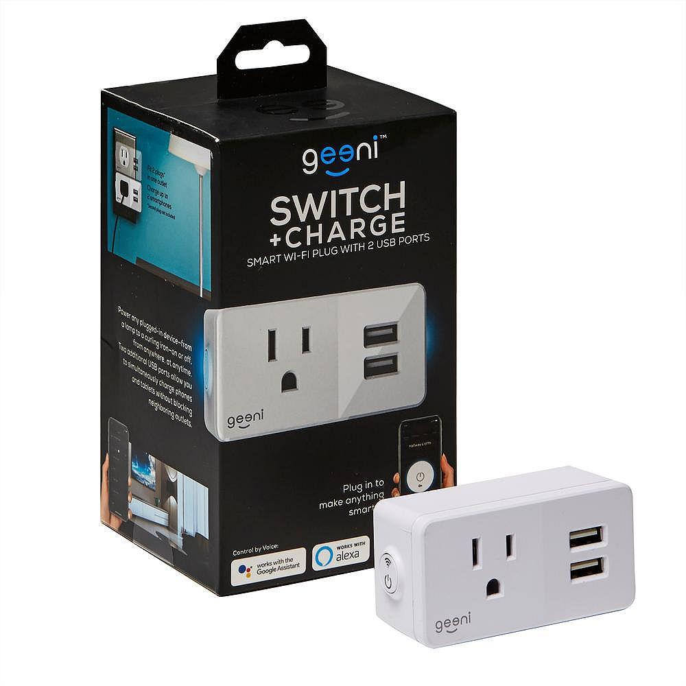 Geeni Prise intelligente SWITCH + CHARGE avec 2 ports USB et connexion Wi-Fi, 10 Ah, blanc