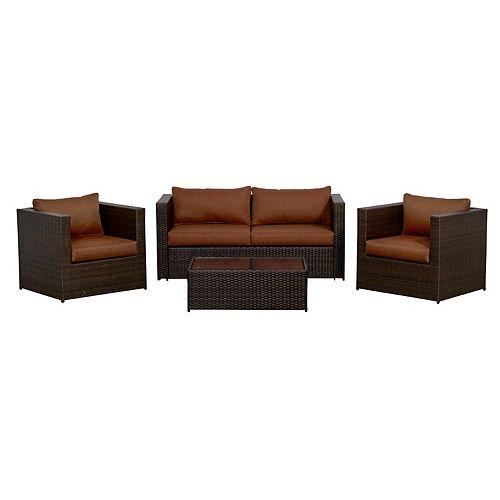 Palisades 4-Piece Club Chair Patio Conversation Set
