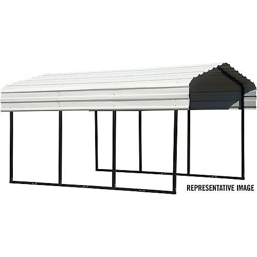 Steel Carport 10 x 24 x 7 ft. Galvanized Black/Eggshell