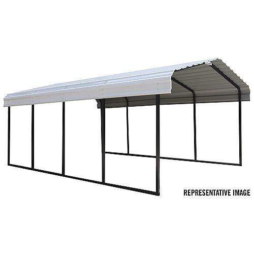 Steel Carport 12 x 24 x 7 ft. Galvanized Black/Eggshell