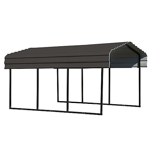 Steel Carport 10 x 15 x 7 ft. Galvanized Black/Charcoal