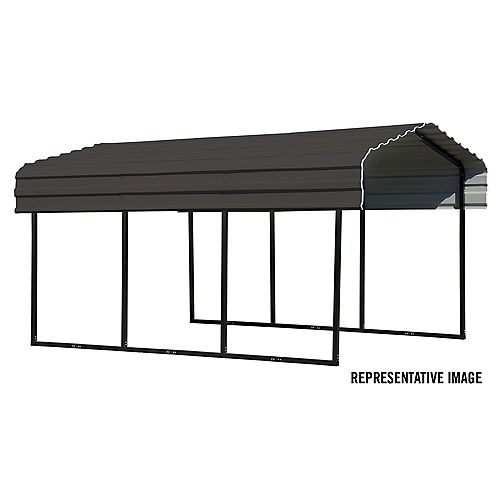 Steel Carport 10 x 29 x 7 ft. Galvanized Black/Charcoal