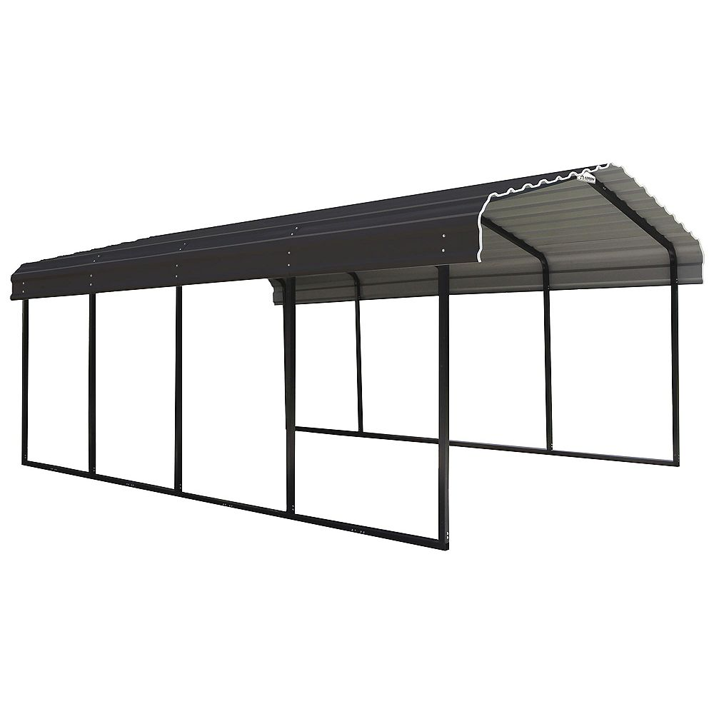 Arrow Steel Carport 12 X 20 X 7 Ft Galvanized Black Charcoal The Home Depot Canada