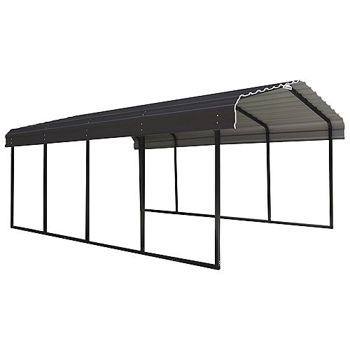 Arrow Steel Carport 12 x 20 x 7 ft. Galvanized Black/Charcoal