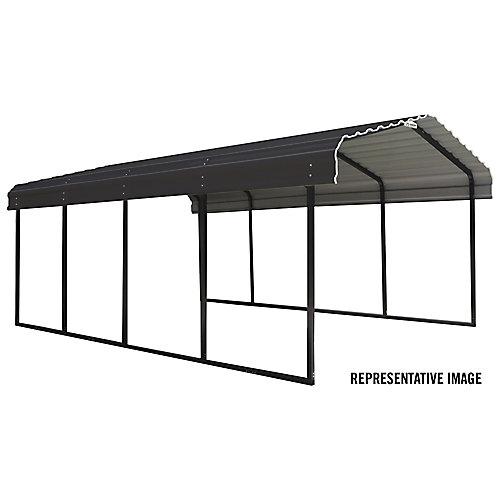 Steel Carport 12 x 29 x 7 ft. Galvanized Black/Charcoal